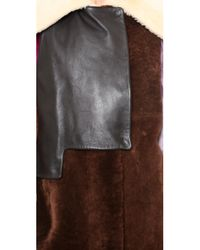 3.1 Phillip Lim Red Patchwork Shearling Coat Chestnut