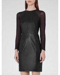 Reiss Black Elodie Leather And Chiffon Dress