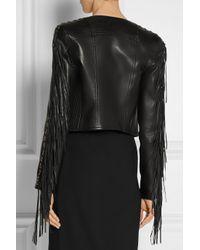 Balmain | Black Fringed Leather Biker Jacket | Lyst