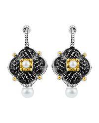 Konstantino - White Spinel & Pearl Clover Earrings - Lyst