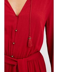 Forever 21 | Red Self-tie Tasseled Jumpsuit | Lyst