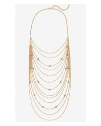Express | Metallic Gold Cascading Chain Necklace | Lyst
