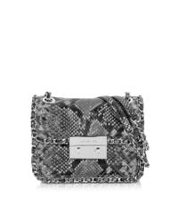 Michael Kors | Gray Carine Steel Grey Quilted Embossed Python Leather Medium Shoulder Bag | Lyst
