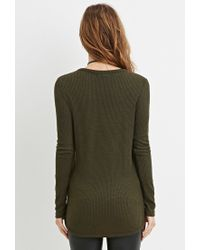 Forever 21 | Green Ribbed Knit Tunic | Lyst