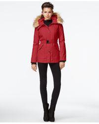 Jessica Simpson Red Faux-fur-trim Belted Coat