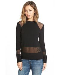 RVCA | Black 'take A Hint' Sheer Panel Sweater | Lyst