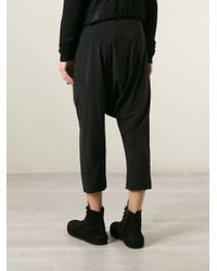 Rick Owens - Black Drop Crotch Cropped Trousers for Men - Lyst