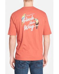 Tommy Bahama Red 'flock This Way' Crewneck T-shirt for men