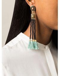 Etro | Black Tassel Bead Fringed Earrings | Lyst