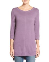 Caslon | Purple Caslon Three Quarter Sleeve Side Slit Tunic | Lyst