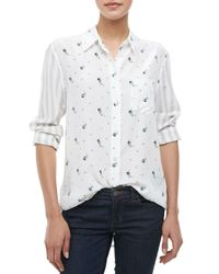 Equipment - White Reese Archive Provence Floralstriped Shirt - Lyst