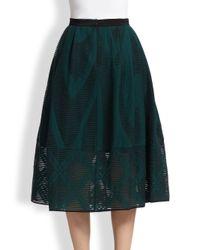 Tibi - Green Abstract-Patterned Sheer Burnout Midi Skirt - Lyst