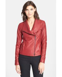 Vince | Red Leather Scuba Jacket | Lyst
