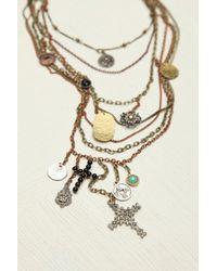 Free People - Metallic Multi Charm Rosary - Lyst
