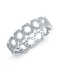 Anne Sisteron | Metallic 14kt White Gold Diamond Mini Lattice Ring | Lyst