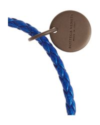 Bottega Veneta - Blue Intrecciato Leather Bracelet - Lyst