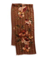 Lauren by Ralph Lauren | Brown Floral Silk Scarf | Lyst