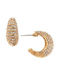Kenneth Jay Lane | Metallic Striped Pave Crystal Huggie Earrings | Lyst