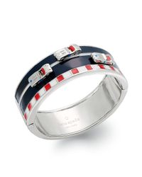 kate spade new york | Metallic New York Silvertone Multicolored Enamel Race Car Hinge Bracelet | Lyst