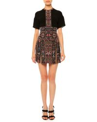 Valentino - Black Embroidered Short-sleeve Gladiator Dress - Lyst