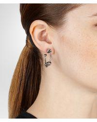 Bottega Veneta Metallic Antique Silver Intrecciato Coaxial Earring