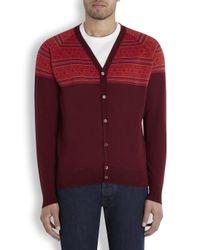 John Smedley Red Fair Isle Wool Cardigan for men