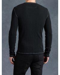 John Varvatos - Black Cotton Waffle Henley for Men - Lyst