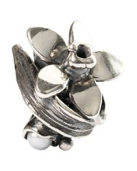 Trollbeads - Metallic Sterling Silver Narcissus Of December With Pearl Bead - Lyst