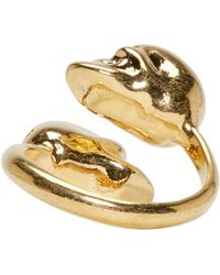 Alexander McQueen | Metallic Gold Twin Skull Ring | Lyst