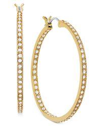 Swarovski | Metallic 22k Gold-plated Crystal Somerset Hoop Earrings | Lyst