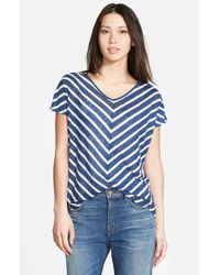 Velvet By Graham & Spencer | Blue Stripe Split Back Knit Top | Lyst