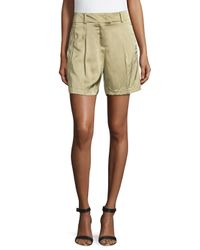 ESCADA - Natural Pleated-front Woven Shorts - Lyst
