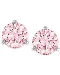 Swarovski | Silver-tone Pink Crystal Stud Earrings | Lyst