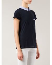 Band of Outsiders - Blue Shirt Collar T-Shirt - Lyst
