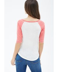 Forever 21 - Pink Heathered Baseball Tee - Lyst