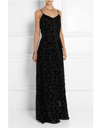 Band of Outsiders - Black Flocked Chiffon Maxi Dress - Lyst