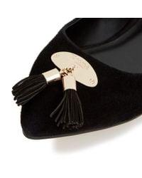 Dune - Black Hewee Tassel Trim Pointed Toe Flat Shoes - Lyst