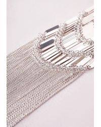 Missguided - Metallic Layered Bar Necklace Silver - Lyst