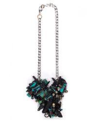 Subversive Jewelry Blue Turquoise And Black Quartz Couture Necklace