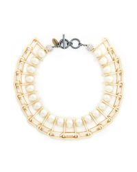 Venna | Metallic Chain Link Resin Pearl Collar Necklace | Lyst