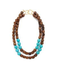 Kenneth Jay Lane - Brown Two Row Wood Bead Necklace - Lyst
