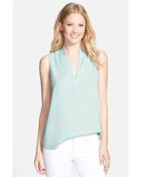 Pleione | Blue Layered V-neck Sleeveless Blouse | Lyst