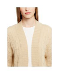 Ralph Lauren Black Label - Natural Cabled Cashmere Open Cardigan - Lyst