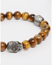 Simon Carter | Brown Tigers Eye Beaded Bracelet Exclusive To Asos for Men | Lyst