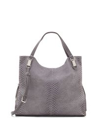 Vince Camuto | Gray 'riley' Snake Embossed Leather Tote | Lyst