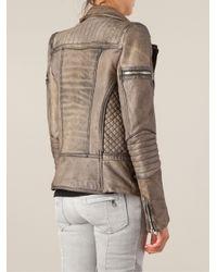 Balmain - Brown Biker Jacket - Lyst