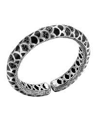 John Hardy - Metallic Naga Silver Lava & Enamel Slim Flex Cuff With Black Enamel And Sapphires - Lyst