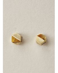 Ming Yu Wang Metallic Brass / Tiger's Eye Decimal Earrings