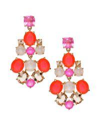 kate spade new york - Metallic New York Goldtone Pink Chandelier Earrings - Lyst