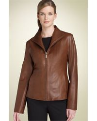 Cole Haan | Brown Lambskin Leather Scuba Jacket | Lyst